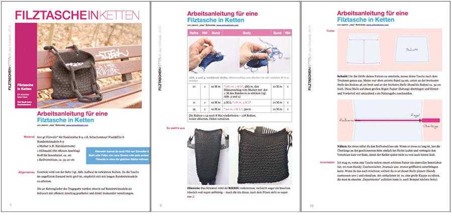 Filztasche in Ketten, Ausführliche Anleitung als eBook