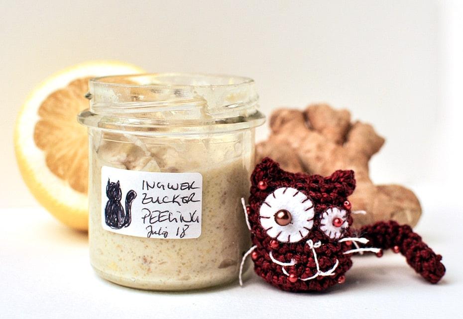 Klärend mildes Ingwer-Zucker Peeling selber machen / Schwatz Katz