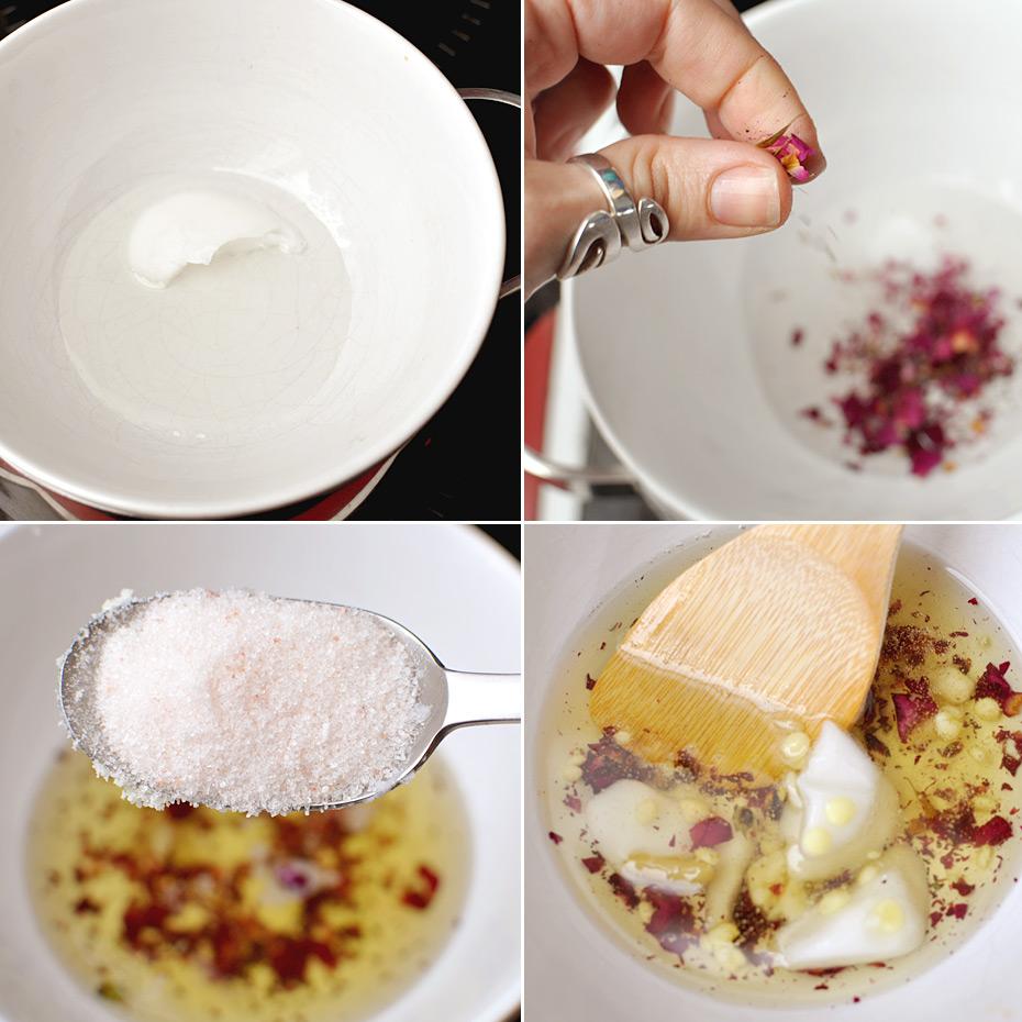 Zubereitung Rosen Peeling Mousse