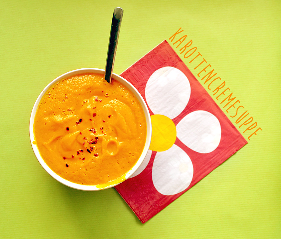 Karottencremesuppe mit frischer Orange und Ingwer, vegan. lecker