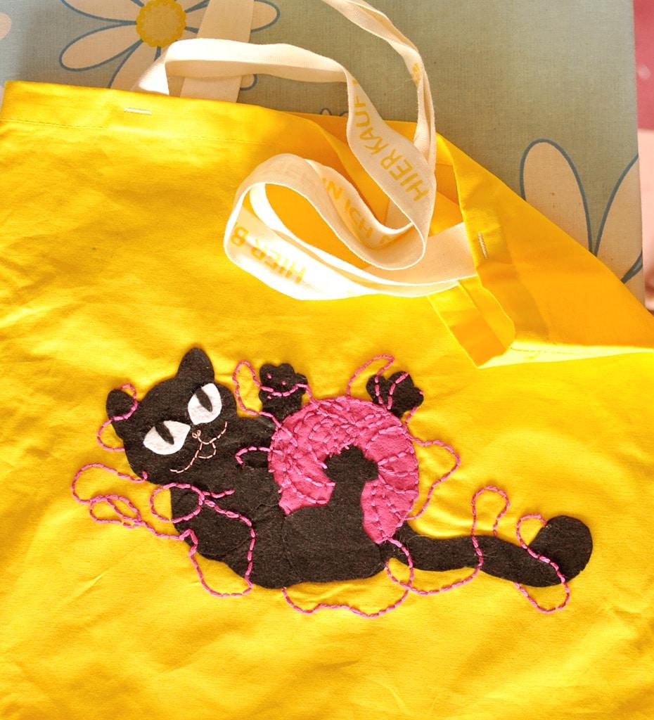 Einkaufstasche mit Katze selbermachen