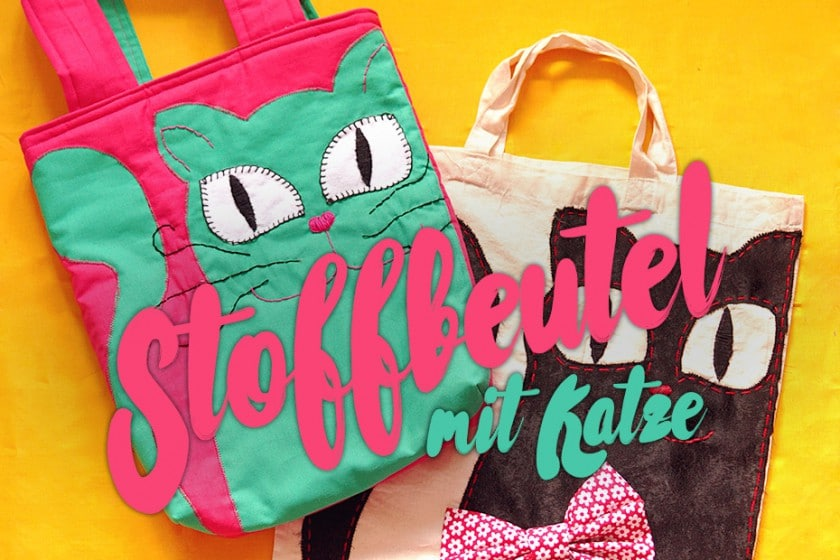 DIY Stoffbeutel mit Katzenapplikation | SCHWATZ KATZ