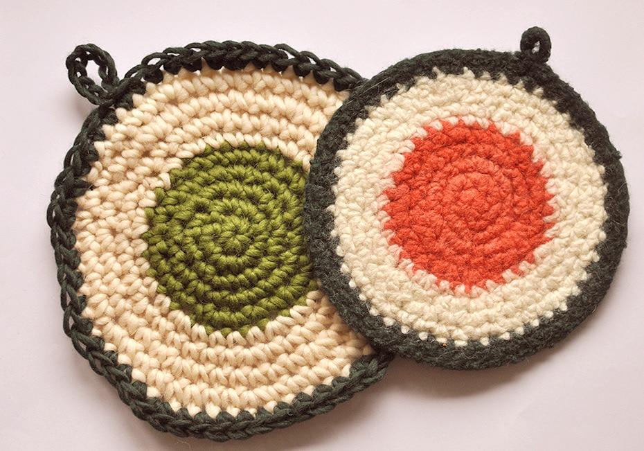 DIY Maki Sushi Topflappenset aus Filzwolle | Schwatz Katz
