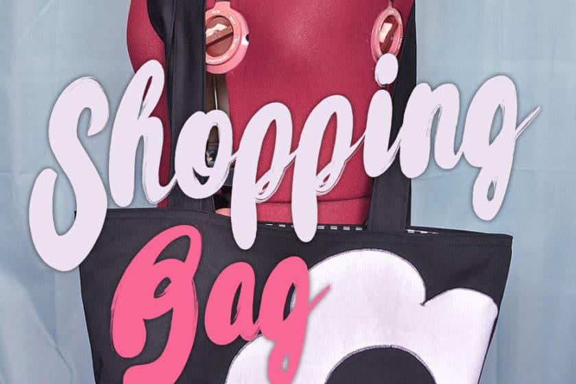 Geräumiger DIY Shopping Bag mit Blume | Schwatz Katz