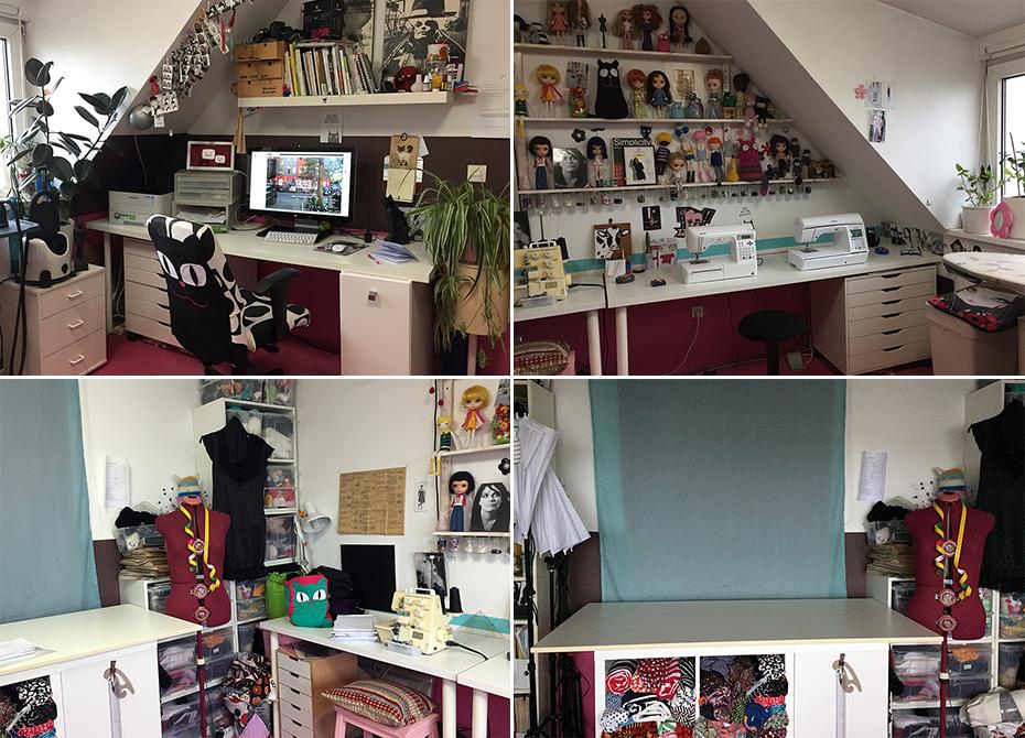 Arbeitszimmer Revamp mit DIY Tapete aus Schnittmustern und selbstgebautem Regal | Schwatz Katz