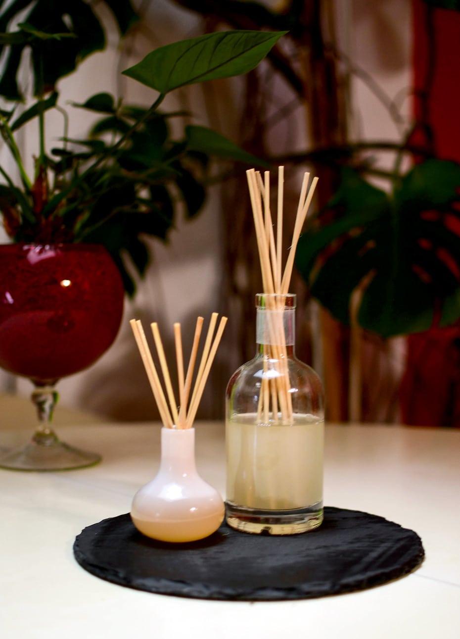 Selbstgemachte Aromavase mit Raumduftstäbchen in Alkohol | Schwatz Katz